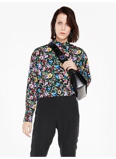 Çiçek Desen Crop Bluz-Twist